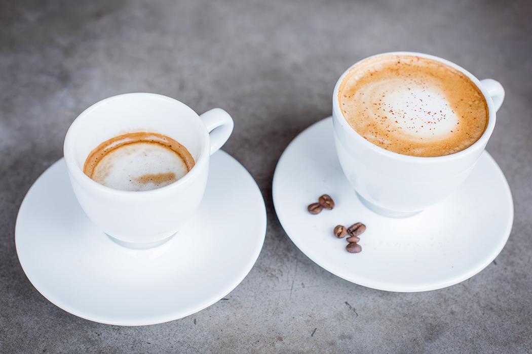 Espresso Machiato og Cappucino