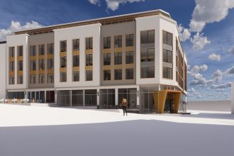 Datakomponert bilde av fremtidige Eeks Gård i Skien